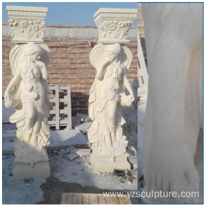Large Size Marble Roman Lady Column For Garden Decoration